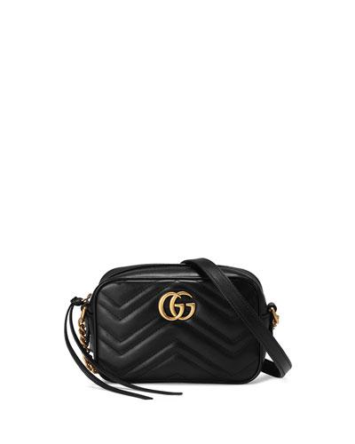 GG Marmont Mini Matelassé Camera Bag, Black