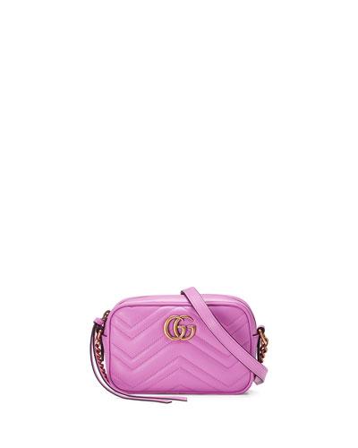 GG Marmont Mini Matelassé Camera Bag, Bright Pink