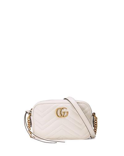 GG Marmont Mini Matelassé Camera Bag, White