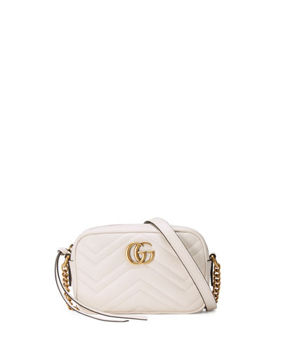 Gucci Gg Marmont Mini Matelassé Camera Bag, White