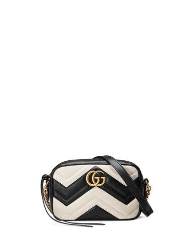 GG Marmont Mini Matelassé Camera Bag, Black/White