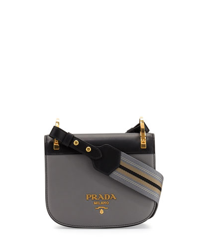 Pionnière Web-Strap Shoulder Bag, Gray/Black (Marmo/Nero)