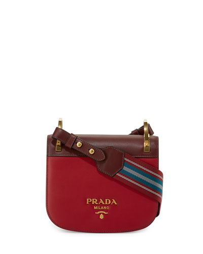 Pionnière Web-Strap Shoulder Bag, Red (Rubino/Granato)