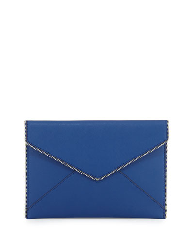 Leo Saffiano Envelope Clutch Bag, Cobalt