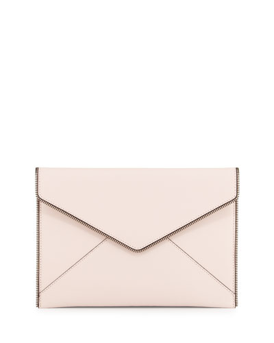 Leo Saffiano Envelope Clutch Bag, Pale Blush