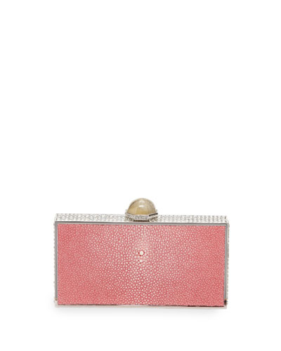 Perfect Rectangle Stingray Clutch Bag, Silver/Pink