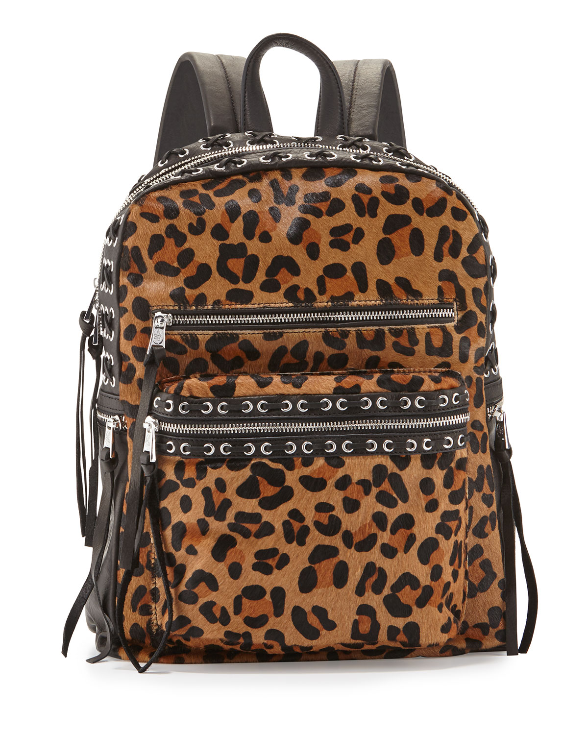 Billy Leopard-Print Laced Backpack, Leopard/Black