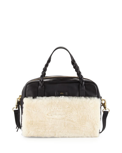 Cable Shearling Leather Satchel Bag, Black/White