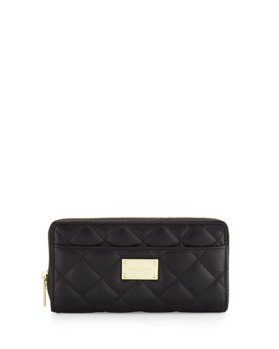 Quilted Leather Continental Wallet, Black