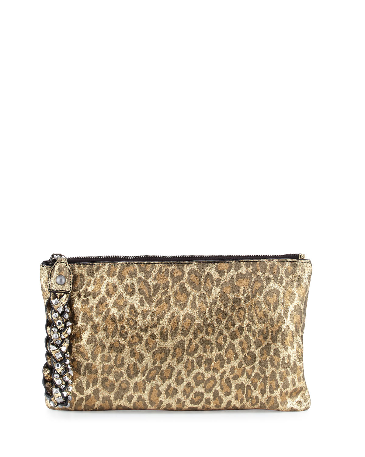 Janis Leopard-Print Leather Clutch Bag, Gold