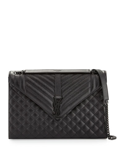 Monogram Medium Chain Tri-Quilt Shoulder Bag, Black
