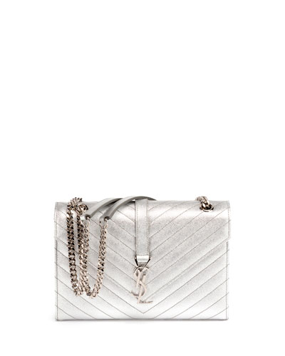 Monogram Medium Matelassé Chain Shoulder Bag, Silver