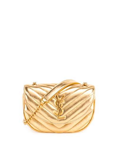 Monogram Small Bubble Chain Crossbody Bag, Gold