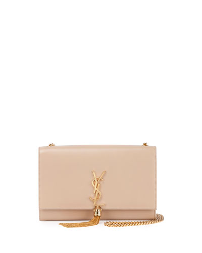 Kate Monogram Medium Leather Tassel Shoulder Bag, Nude