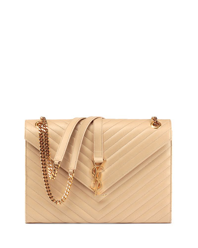 Monogram Large Chain Matelasse Shoulder Bag, Nude