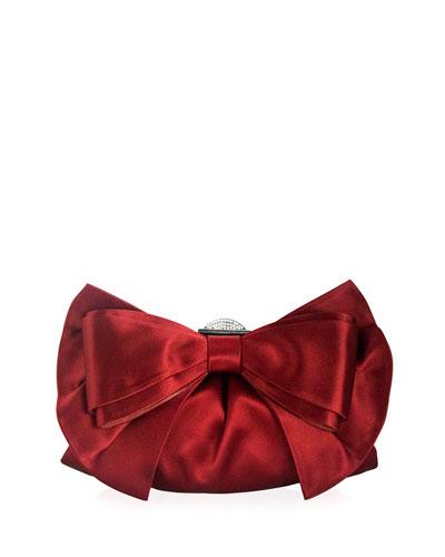 Madison Satin Bow Evening Clutch Bag, Crimson