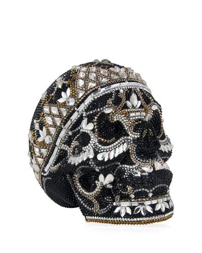 Skull Bela Lugosi Crystal Evening Clutch Bag, Silver Jet/Multi in Silver Jet Multi