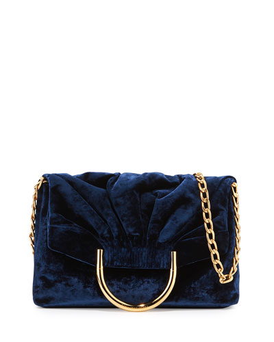 Nina Velvet Fold-Over Shoulder Bag, Navy