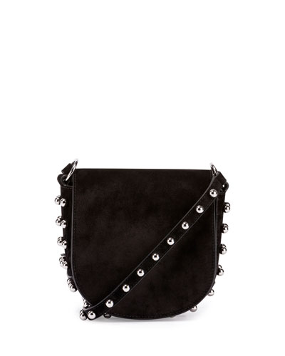 Lia Mini Leather Saddle Bag, Black
