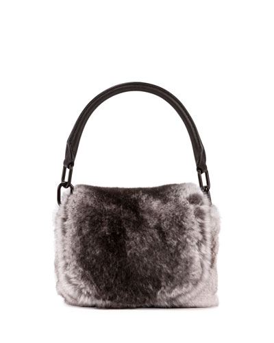Rex Rabbit Fur Mini Satchel Bag, White/Gray
