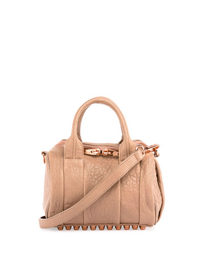 Mini Rockie Leather Satchel Bag, Latte/Rose Gold