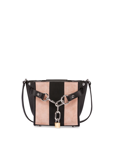 Attica Mini Striped Chain Satchel Bag, Cameo Pink