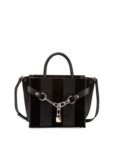 Attica Striped Chain Satchel Bag, Black