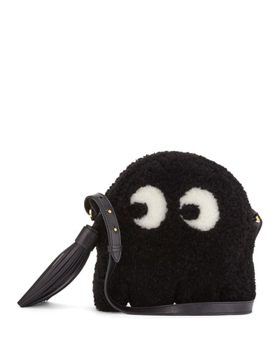 Shearling Fur Ghost Crossbody Bag, Black