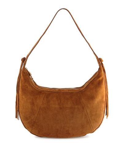 Zoe Large Leather Hobo Bag, Tobacco