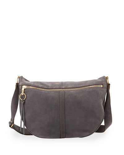 Scott Suede Half-Moon Shoulder Bag, Putty