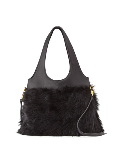 Zoe Small Fur Hobo Bag, Black