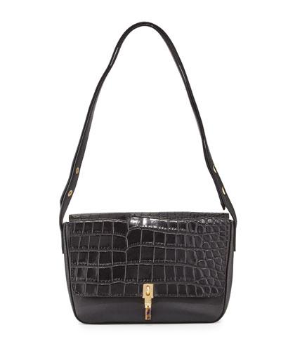 Cynnie Crocodile-Embossed Shoulder Bag, Black