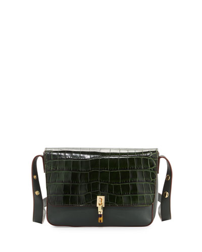 Cynnie Crocodile-Embossed Shoulder Bag, Bottle Green