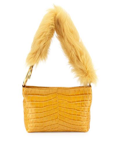 Finley Crocodile-Embossed Fur Shoulder Bag, Saffron