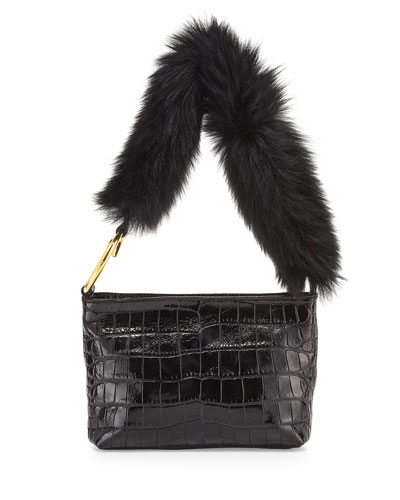Finley Crocodile-Embossed Fur Shoulder Bag, Black