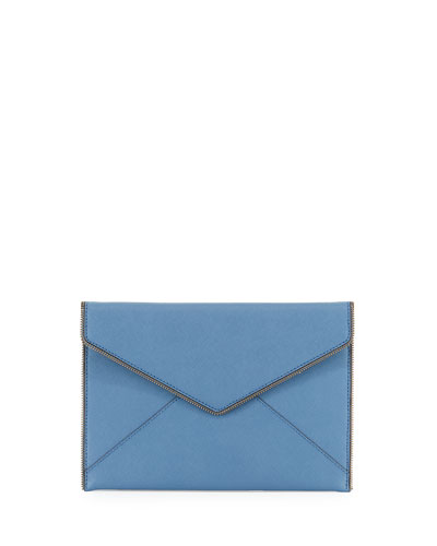 Leo Saffiano Envelope Clutch Bag, Dusty Blue
