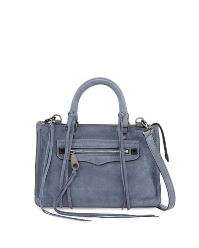 Regan Micro Leather Satchel Bag, Dusty Blue