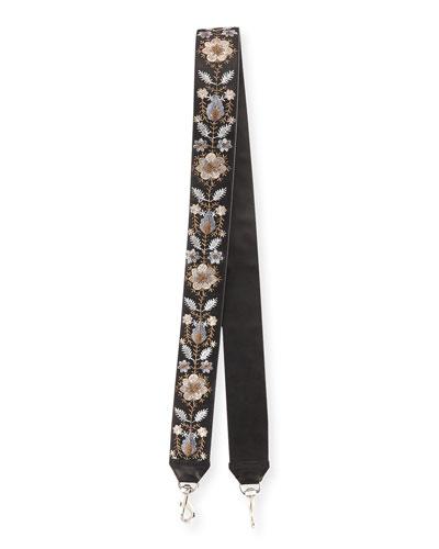 Metallic Floral-Embroidered Guitar Strap for Handbag, Bronze/Multi