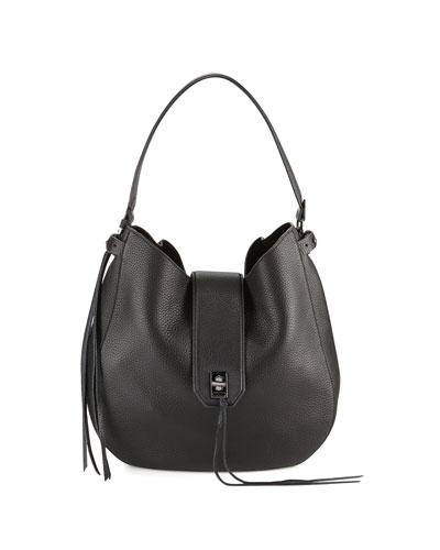 Darren Leather Hobo Bag, Black