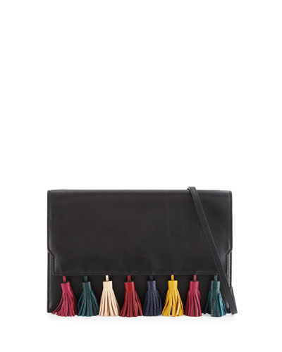 Sofia Leather Tassel Clutch Bag, Black/Multi