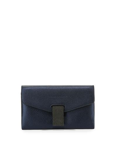 Mini Envelope Crossbody with Monili Closure, Blue