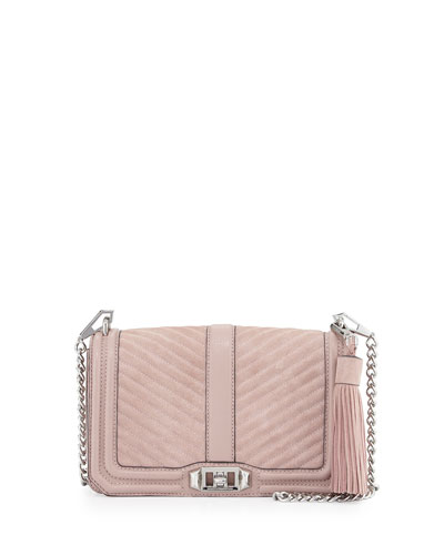 Love Quilted Turn-Lock Crossbody Bag, Vintage Pink