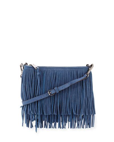 Finn Leather Fringe Crossbody Bag, Dusty Blue