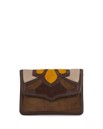 Laurie Flat Crossbody Clutch Bag, Olive/Multi