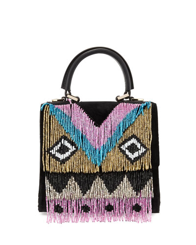 Micro Alex Disco Fringe Satchel Bag, Black