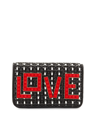 Micro Janis Black Widow Clutch Bag, Black/Red/White