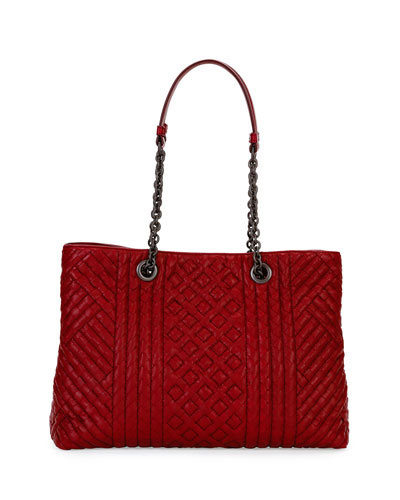 Intrecciato Medium Double-Chain Tote Bag, Bordeaux