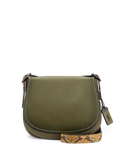 Python-Trim Leather Saddle Bag, Olive