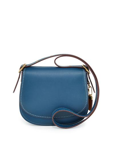 23 Leather Saddle Bag, Dark Denim