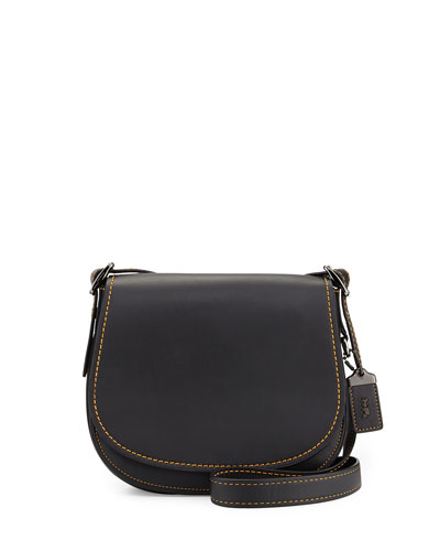 Contrast-Edge Leather Saddle Bag, Black